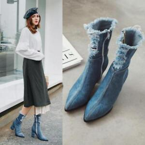 New-Womens-Ankle-Boots-Side-Zipper-Shoes-Pointed-Toe-Block-High-Heel-Pumps-Denim