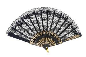 Baroque Victorien Fan Dames Compartiments Noble Dame Noble Reine Noir Or