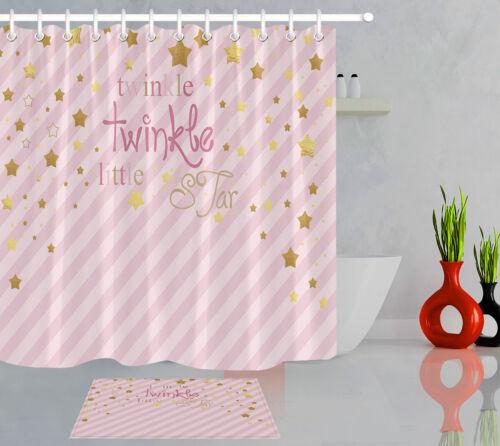 Twinkle Twinkle Little Estrella de Oro a Rayas Tela Impermeable Juego De Cortina De Ducha