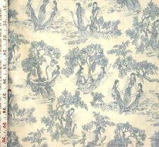 1YD THREE GRACES TOILE BLUE Garden Fairies Angel Victorian Rose & Hubble