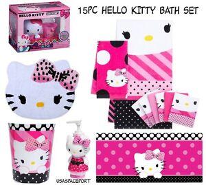15pc hello kitty complete bathroom set rug tub mat towels washcloths bonus smile ebay. Black Bedroom Furniture Sets. Home Design Ideas