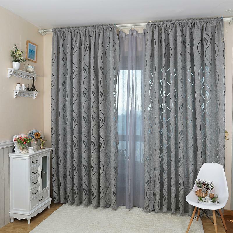Leaf Door Drapes Voile Window Sheer Curtain Panel for Bedroom Living Room 1M*2M