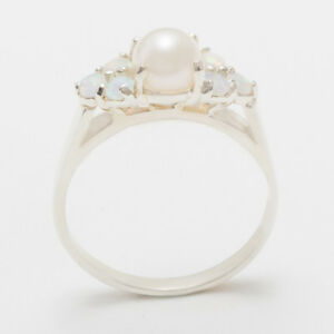 Solid-18ct-750-White-Gold-Full-Pearl-amp-Opal-Womens-Cluster-Ring-Sizes-J-to-Z