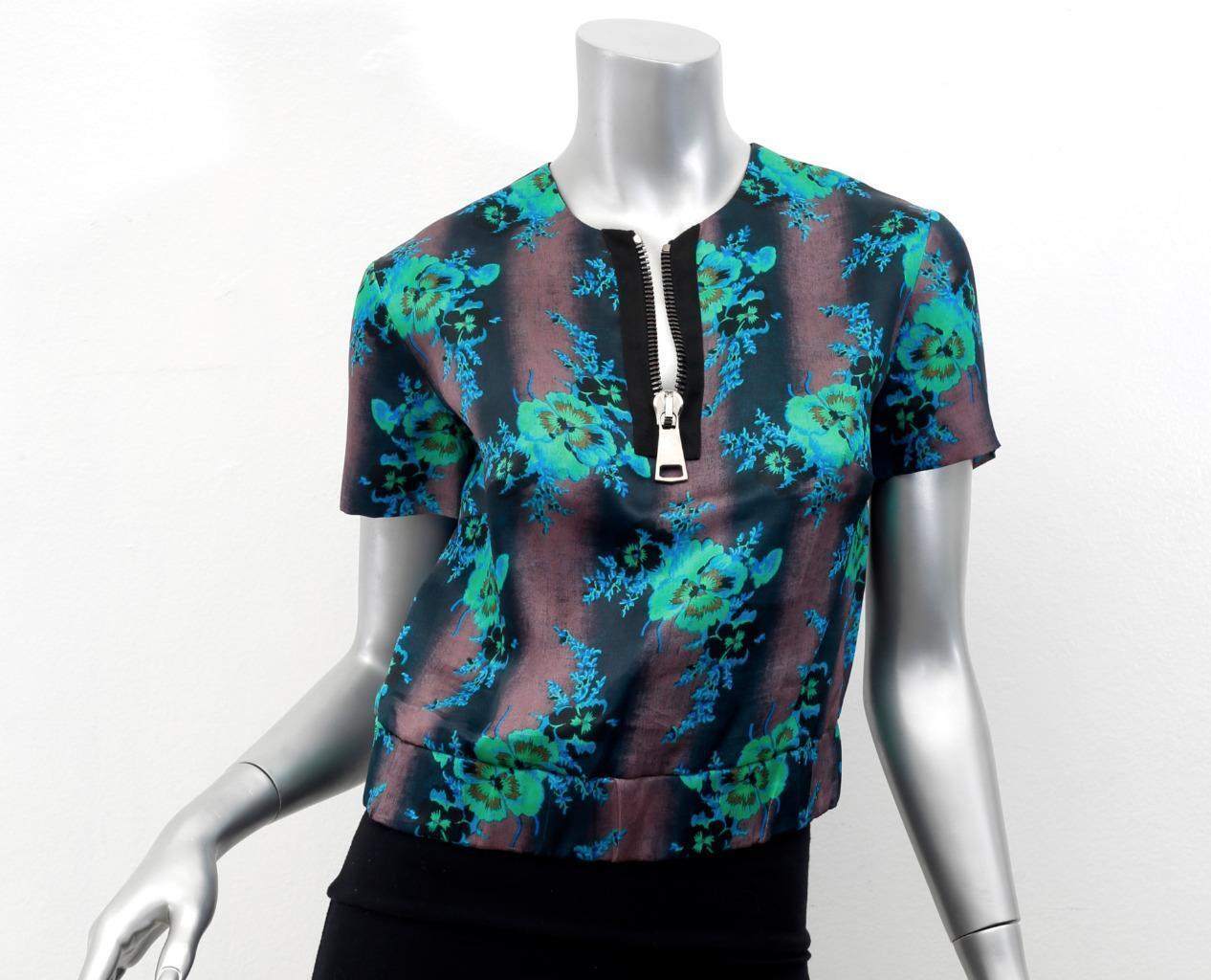 CHRISTOPHER KANE Grün schwarz Floral Silk OverGrößed Zipper Blouse Top US 6 NEW
