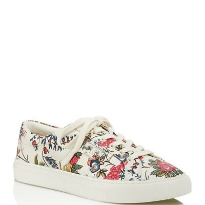 TORY BURCH WOMENS AMALIA FLORAL PRINT LACE UP SNEAKERS
