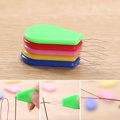 12 X Needle Wire Thread Plastic Threader Sewing Machine Bow Insert Craft Tool