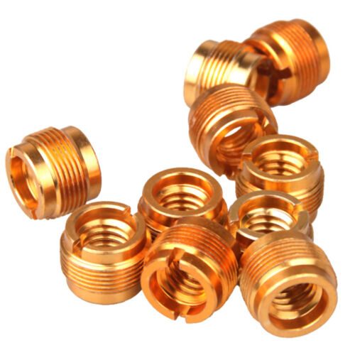 """5X Microphone Mic Screw Clip Thread Adaptor 3//8/"""" To 5//8/"""" Connector Golden /_F"""