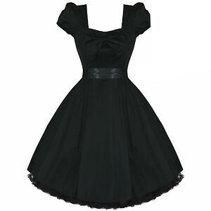Black-Vintage-50s-Fifties-50s-Rockabilly-Pinup-Party-Prom-Dress-UK