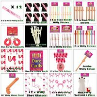 HEN NIGHT DO PARTY ACCESSORIES Sashes, Willy Straws, Shot Glasses, Head Boppers