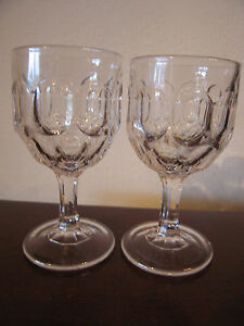 Antique-Early-American-Pattern-Glass-Pair-of-Small-Thumbprint-Cups-Goblets