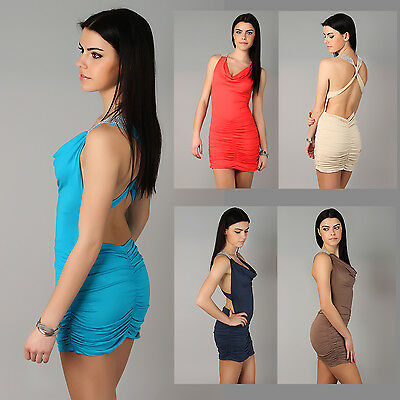 Women's Summer Dress Open Back Sleeveless Strappy Holiday Size 8-12 8505