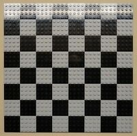 X64 Lego Plates 4x4 Lt Gray & Black Baseplates Makes Chess Game Board