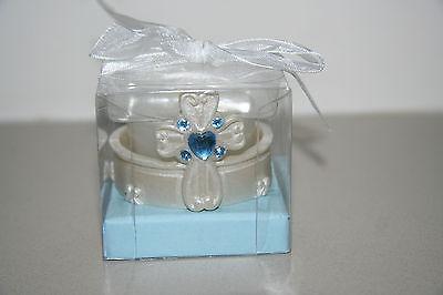 Blue Stone Cross Tealight Candle Holder Christening Baptism Bomboniere Favour