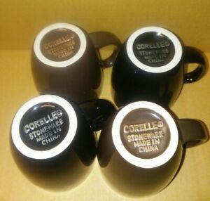 Corning-Corelle-Coordinates-Coffee-Mug-Cup-Set-of-4-Black-Brown-EUC-Stoneware
