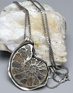 Sehr großer, handgearbeiteter 925 Silber Anhänger Ammonit & lange Silberkette