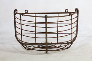 Rustic Wrought Iron Small Half Round Half Wall Basket Flower