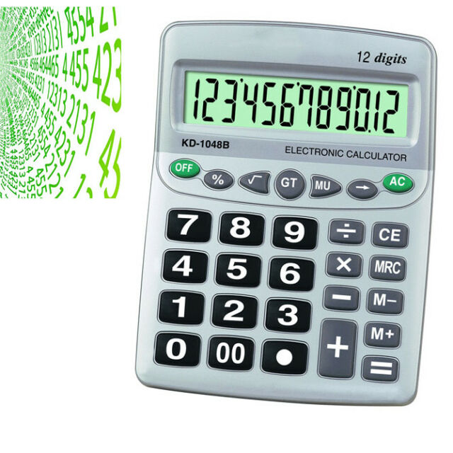 Calculator Great Table Electronics 12 Digits Calculations Display 806