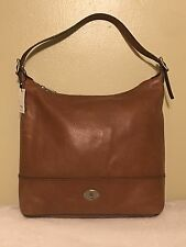 Fossil Maddox Marlow Chestnut Brown Leather Bucket Hobo Shoulder Bag