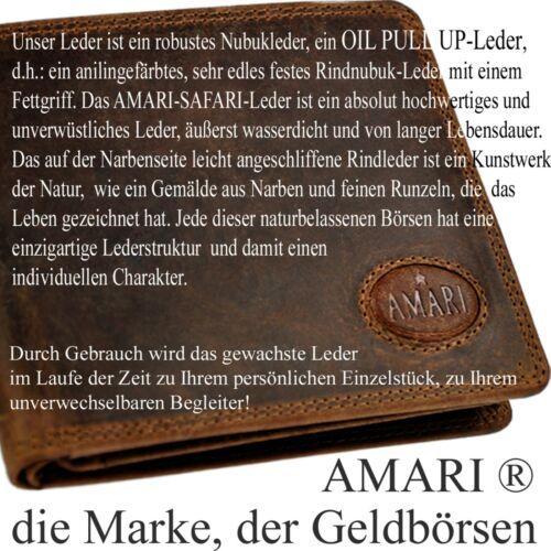 AMARI Portemonnaie XXL robustes Pull Up Rindleder 20 Fächer Geldbörse Bikerbörse