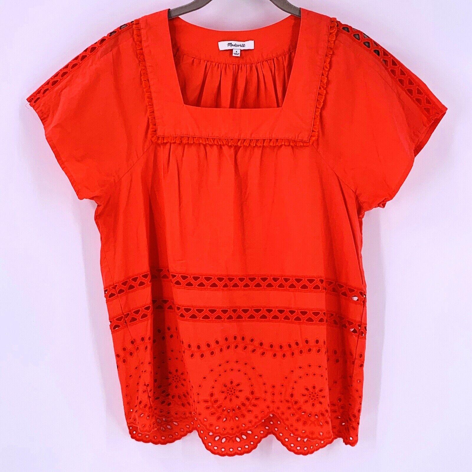 Madewell Orange Cotton Eyelet Angelica Top Size S… - image 4