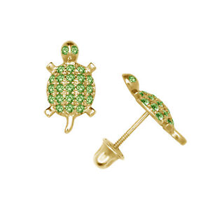 Micro-Pave-Emerald-Turtle-Child-Stud-Earrings-Screw-Back-14K-Yellow-Gold