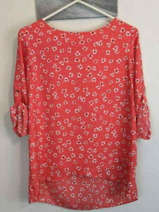 Chaus-New-York-Orange-Floral-Top-Roll-Up-Sleeves-Key-Hole-Back-Womens-Size-Small
