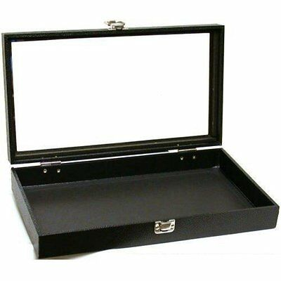 Black Jewelry Travel Showcase Display Glass Lid Case, New, Free Shipping