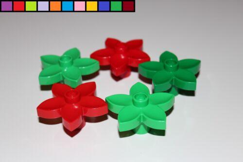 dunkelgrün rot hellgrün grün bunt gemischt Lego Duplo 5x Blume Blüte