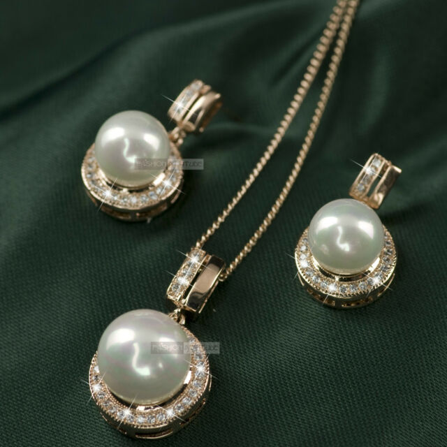 18k gold gf made with SWAROVSKI crystal stud earrings pearl pendant necklace set