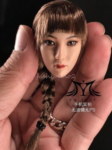 """1//6 YMtoys Asiatico Donna lunghi capelli castani Abbronzante Testa Ying un corpo per 12/"""" Figure"""