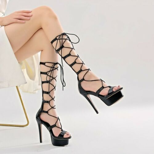 Women Ladies Fashion Peep Toe Cutout Lace Up High Heel Sandals Gladiator Shoes L