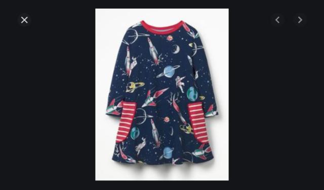NEW RRP £19.99   Ex Mini boden Girl/'s Space printed tunic dress BU30