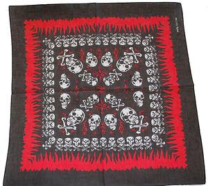 Bandana-Bandanna-Flame-Skull-Cross-Bone-Black-6-Styles