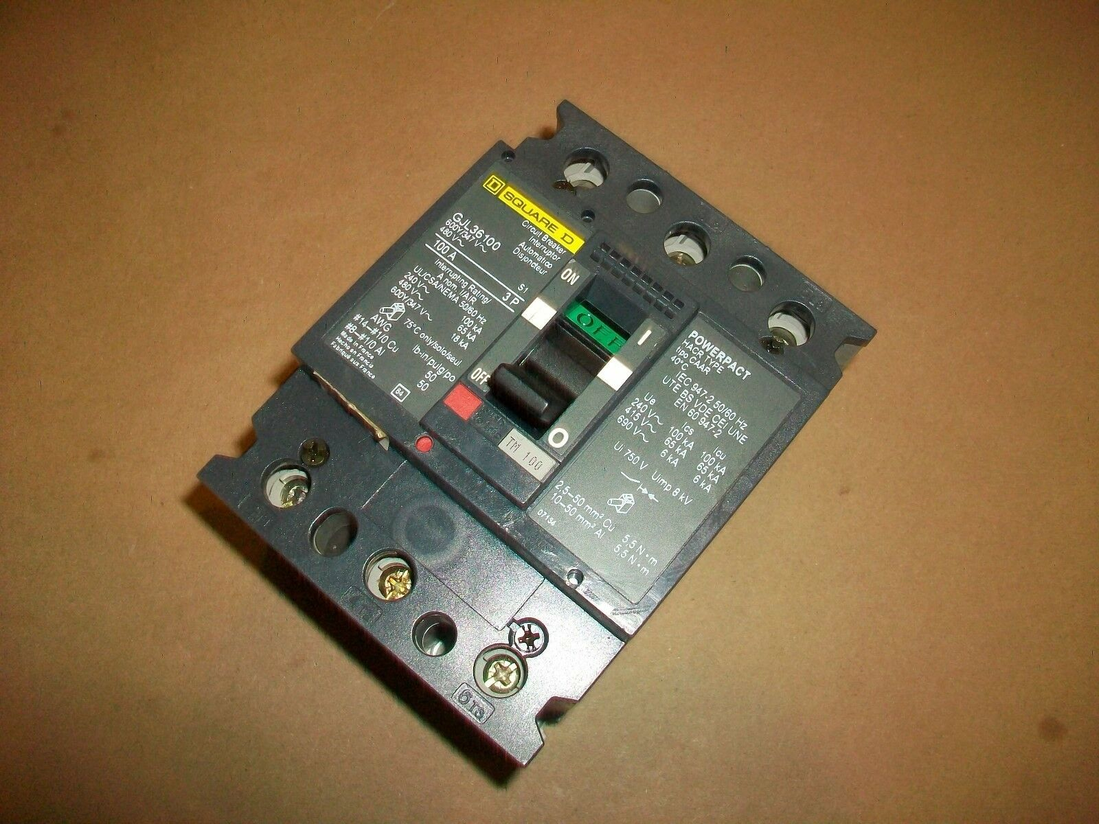 Square D Gjl Gjl36100 3 Pole 100 Amp 600v Circuit Breaker Ebay Used Breakers Norton Secured Powered By Verisign