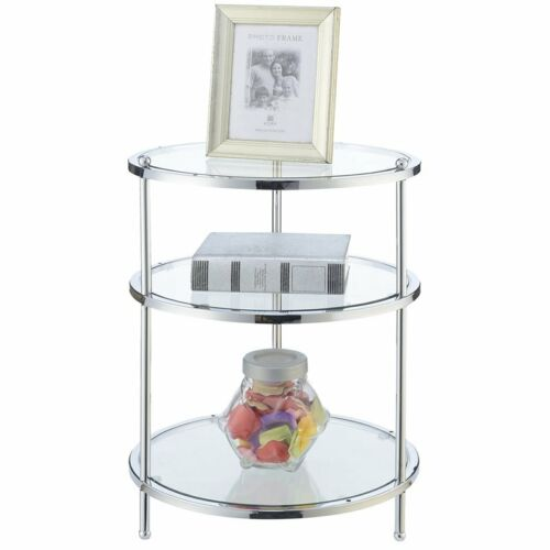 Convenience Concepts Royal Crest 3 Tier Round End Table in Chrome