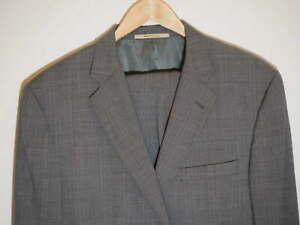 Burberry-London-Suit-44R-Gray-Plaid-37W-Flat-Front-Pants-100-Wool