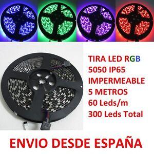 Tira-de-Led-RGB-300-leds-5050-5m-60-Leds-m-IP65-Impermeable-Adhesiva-Waterproof