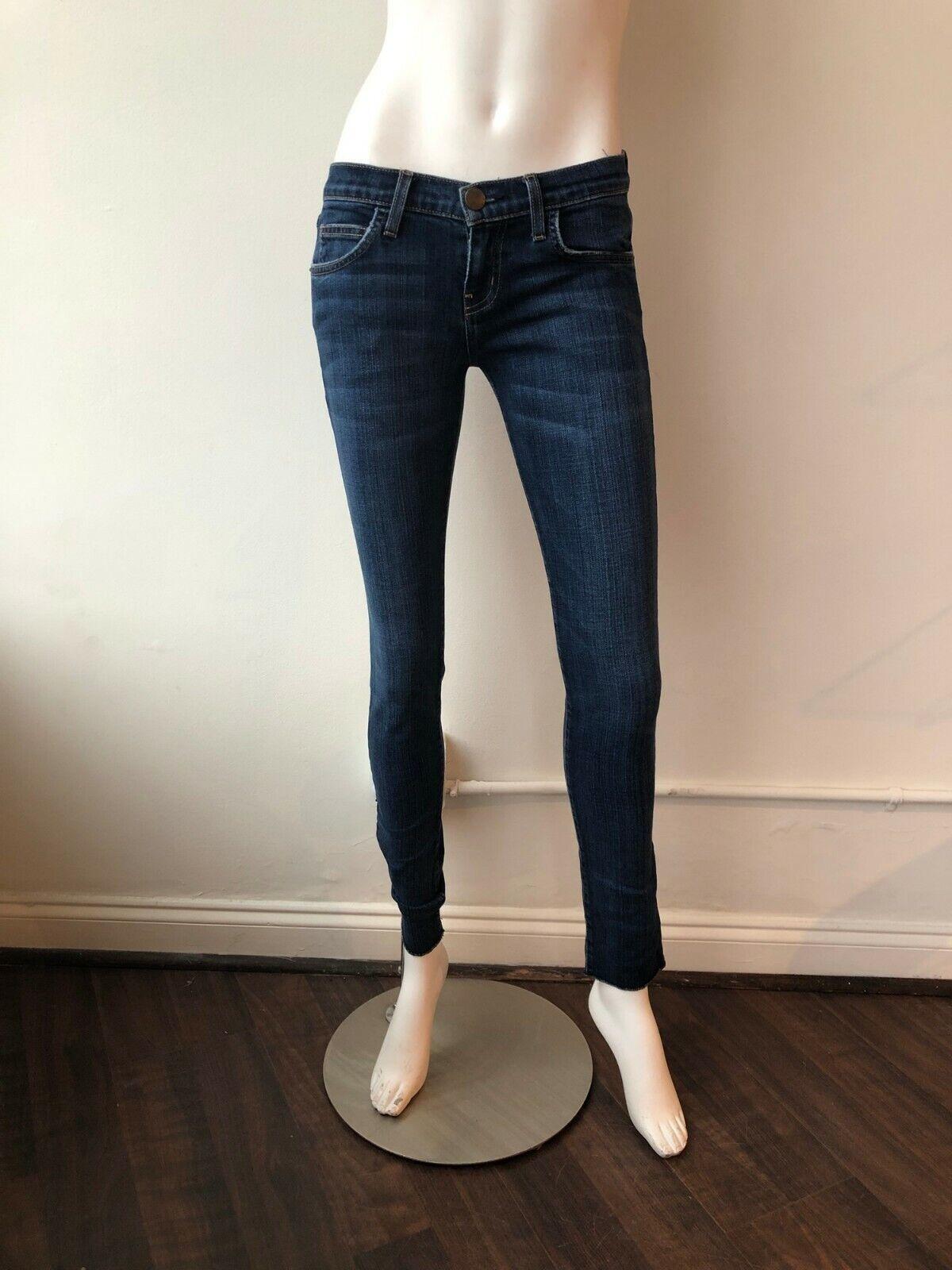 Current Elliott Rolled Skinny Rambler Jeans Low Rise Denim Size 25