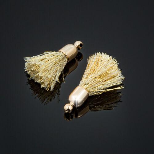 K71//4 20 mm Encantos de algodón con borlas de oro chapado en oro /& Tapa Paquete de 2