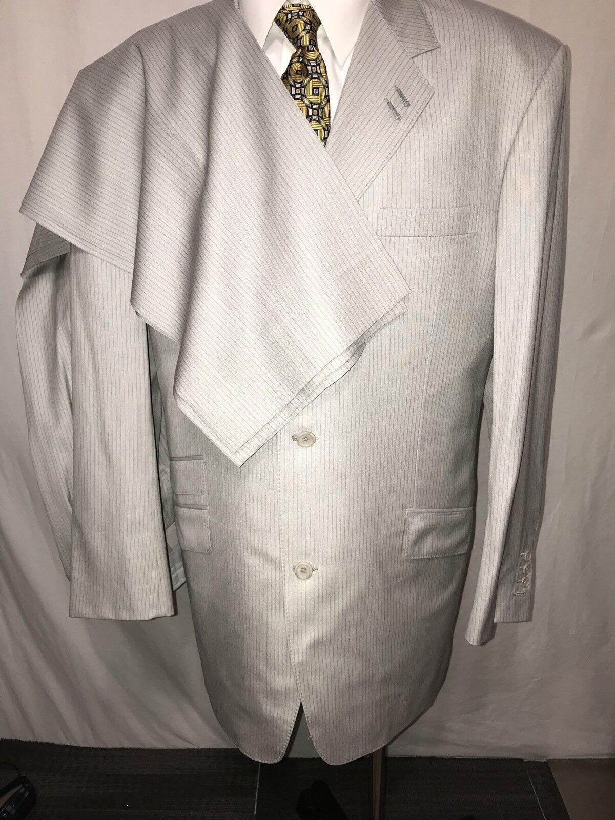 Custom Elevee Light grau striped 2 piece suit men Größe 46XL 37x33 Flat Front