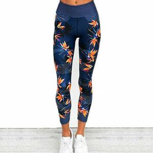Détails sur Legging Femme Sport Bleu Pantalon Imprimé Taille Haute JoggingYoga Slim S M L XL
