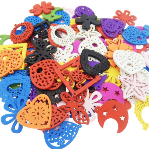 Assorted Mix Kinds Wooden Flowers Peace Signs Pendants Charms Lot of x100