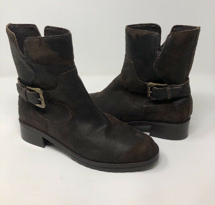 DONALD J PLINER BRUNCIE damen braun DISTRESSED LEATER ANKLE Stiefel SZ 8.5 Moto