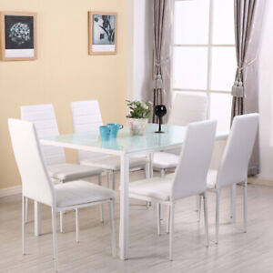 Details About Modern White Tempered Gl Top Dining Table Bistro Kitchen Set 4 6 Chairs Metal