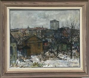 Winter landscape on the outskirts-Carl Faarup-Danish painter - 77 x 88 cm