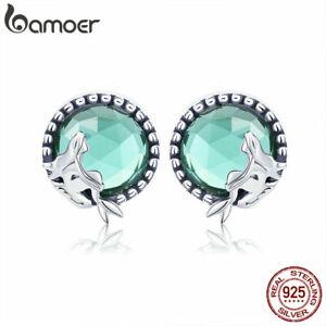 BAMOER-925-Sterling-Silver-Stud-Earrings-Mermaid-love-Glass-For-Women-Jewelry