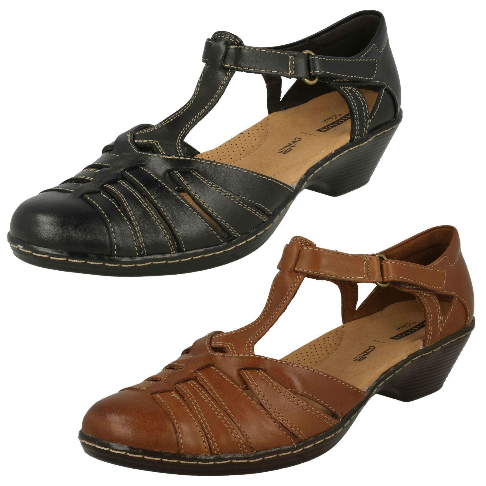 Clarks Wendy alto da donna marroncino zeppa scarpe stile T-BAR