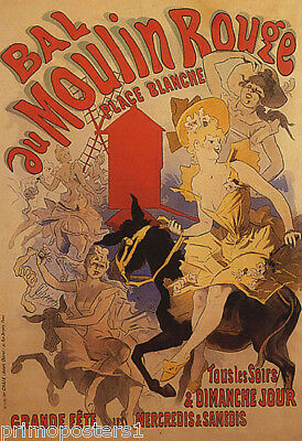 BAL MOULIN ROUGE  SHOW GIRL RIDING A DONKEY THEATER FRENCH VINTAGE POSTER REPRO