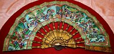 EXCEPTIONAL FAN OF THE THOUSAND FACES. PAINTED PAPER. WOOD LAQUED.CHINA. XIX-XX