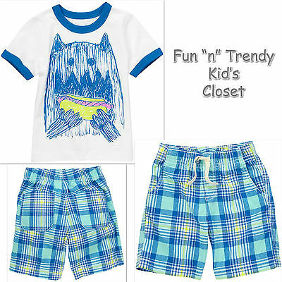 NWT Crazy 8 Boys Size 4T 5T Lion Tee Shirt /& Plaid Pull-On Cargo Shorts 2-PC SET